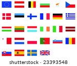 EU flags isolated vector illustration - stock vector