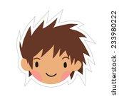 cartoon boy head flat sticker...