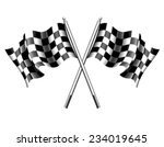 chequered flags motor racing | Shutterstock .eps vector #234019645