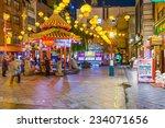 KOBE, JAPAN - NOVEMBER 26, 2012: Kobe Chinatown in the evening. It is one of three designated Chinatowns in Japan. - stock photo