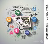 travel collage with icons... | Shutterstock .eps vector #234077956