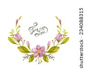 floral wreath watercolor. frame ... | Shutterstock .eps vector #234088315