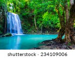 Waterfall In The Tropical...