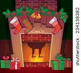 santa in christmas fireplace | Shutterstock .eps vector #234138382