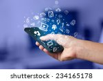 hand holding smartphone with... | Shutterstock . vector #234165178
