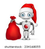 cute robot santa claus isolated ... | Shutterstock .eps vector #234168055