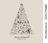 christmas tree   drawing  | Shutterstock .eps vector #234174088