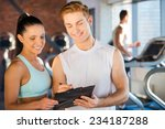 planning her time in gym.... | Shutterstock . vector #234187288