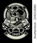 vintage biker skull with... | Shutterstock .eps vector #234213082