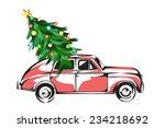 christmas car | Shutterstock .eps vector #234218692