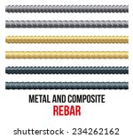 endless rebars. reinforcement...   Shutterstock .eps vector #234262162