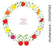 mixed fruits icons wreath | Shutterstock .eps vector #234269362