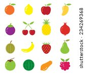 icons set   mixed fruits   Shutterstock .eps vector #234269368