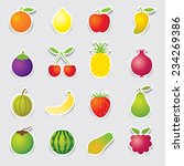 mixed fruits icons sticker style | Shutterstock .eps vector #234269386