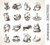 Spa Sketch Decorative Icons Se...