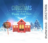 vector landscape and christmas... | Shutterstock .eps vector #234273406