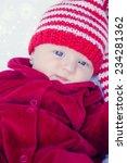 cute baby in santa hat  | Shutterstock . vector #234281362