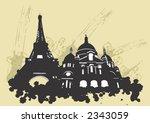 illustration of the eiffel... | Shutterstock .eps vector #2343059
