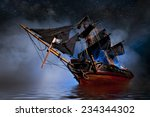 model pirate ship with fog and... | Shutterstock . vector #234344302