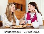 brunette woman has problem ... | Shutterstock . vector #234358066