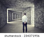 standing man and 3d stone tunnel | Shutterstock . vector #234371956