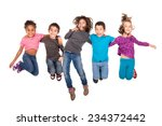 group of children jumping... | Shutterstock . vector #234372442