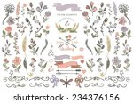 Stock vector colored doodles flower branches arrow ribbon decorative elements set for hand sketched logo design 234376156