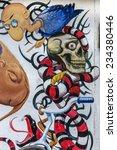 beautiful street art graffiti....   Shutterstock . vector #234380446