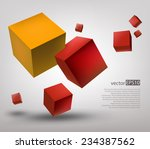 vector color 3d cubes on gray...