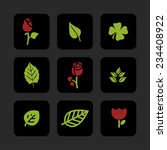 leaves flowers vector icon set | Shutterstock .eps vector #234408922