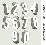 3d numbers set  monochrome... | Shutterstock .eps vector #234433585