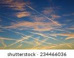 air trails landscape. vapor...