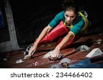 young woman practicing rock... | Shutterstock . vector #234466402
