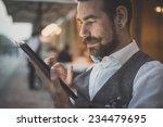 handsome big moustache hipster... | Shutterstock . vector #234479695