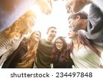 multiethnic group of friends in ... | Shutterstock . vector #234497848