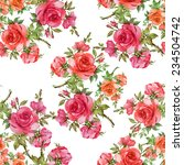 A Seamless Pattern Of Red Roses
