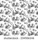 doodle bicycle pattern... | Shutterstock . vector #234506146
