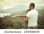 old photo of traveling couple... | Shutterstock . vector #234508435