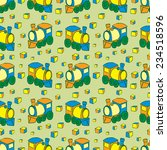 seamless pattern with toy train.... | Shutterstock .eps vector #234518596