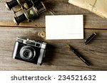 old traveling equipment  camera ... | Shutterstock . vector #234521632