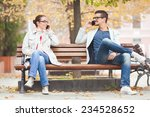 two people talking on the... | Shutterstock . vector #234528652