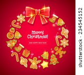 christmas cookies wreath with... | Shutterstock .eps vector #234545152