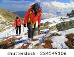 mountain climbers ascending on... | Shutterstock . vector #234549106