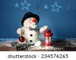 Smiling Snowman  With Lantern ...