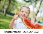 cute girl sitting in park and... | Shutterstock . vector #234654262
