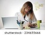 too busy  young woman talking... | Shutterstock . vector #234655666