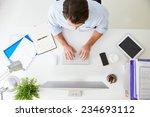 overhead view of businessman...   Shutterstock . vector #234693112