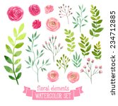 Stock vector vector floral set colorful floral collection with leaves and flowers drawing watercolor spring 234712885