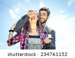 man on knee giving to his... | Shutterstock . vector #234761152