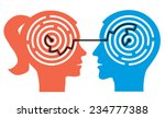 Stock vector couple labyrinth in the heads female and male head silhouettes with maze symbolizing psychological 234777388